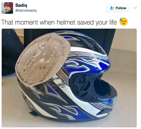 17張證明你不該戴安全帽的「對啦一點都不嚴重」車禍照。(反話)