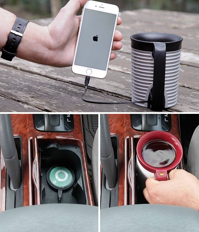 Self-Powered Mug That Keeps Your Drinks At Your Favorite Temperature And Also Charges Your Phone