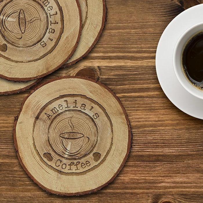 Personalised Engraved Log Coaster Set