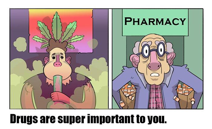 7張年輕人看完「絕對不想承認自己就和老人一樣」的中肯老少對比漫畫。#3靠「藥物」過生活。