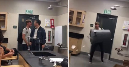美國高中生被拍到飆罵台裔教師「你這XX」種族歧視,最後還拿起垃圾桶! (影片)