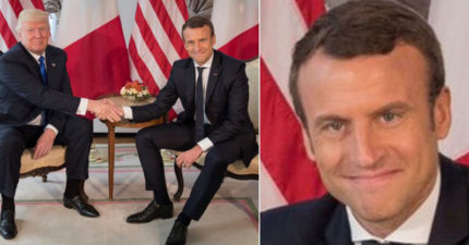 到處霸凌各國國首的川普試著挑戰法國新總統,法國總統把他手握到變形!網友:「他要哭了嗎?」