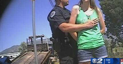 警察以「酒駕」理由強行搜美女身「還開始揉胸」,女子想逃卻被抓回去...(影片)