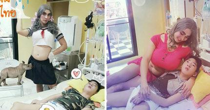 泰國「搞怪帥老爸」假扮女生、耍廢為了博癱瘓兒子一笑!