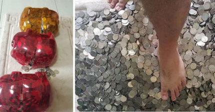 夫妻堅持每天「用50元銅板餵小豬撲滿」,2年後「100公斤」剖開後超狂金額!