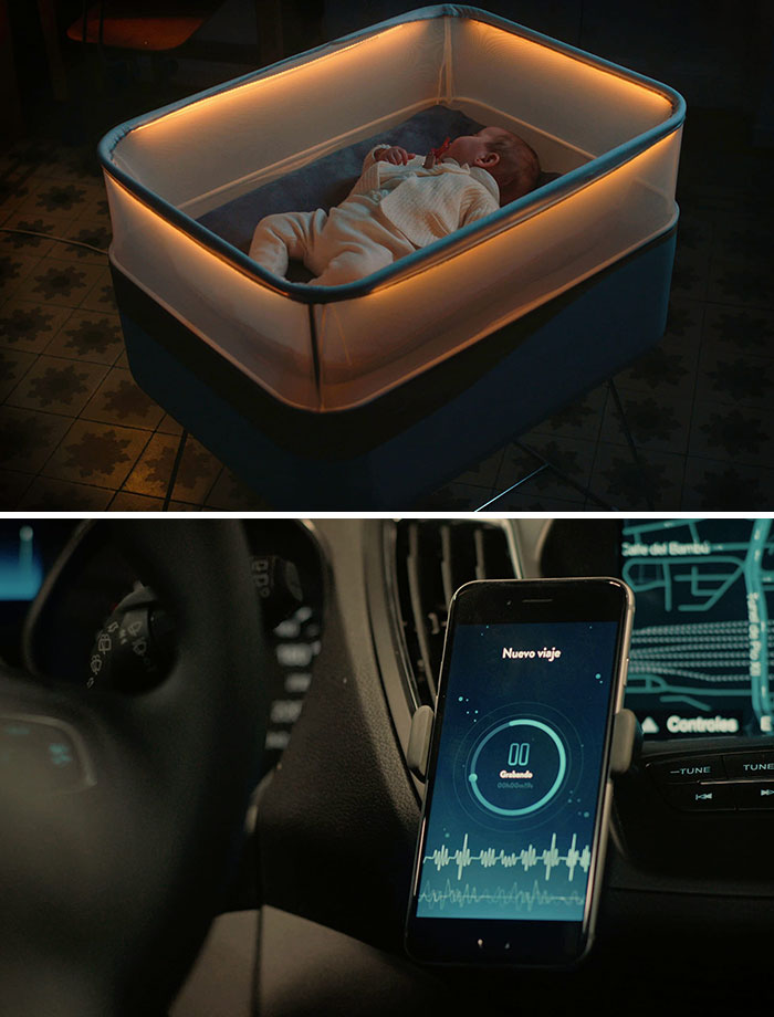 Crib Which Simulates The Feeling Of Being In A Car And Helps A Baby Fall Asleep