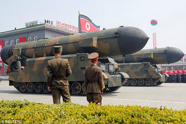 The missile travelled 30 miles before crashing down on an inland part of North Korea. A rocket is pictured at a military display in Pyongyang in April