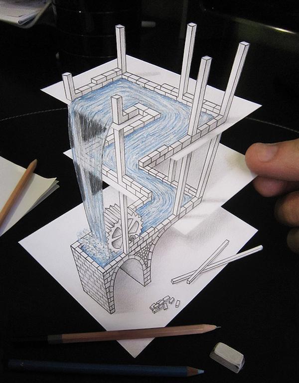 25張「你看3次都看不出是怎麼辦到」的超狂2D變3D驚人視覺擾亂作品!#14 水怎麼消失的...