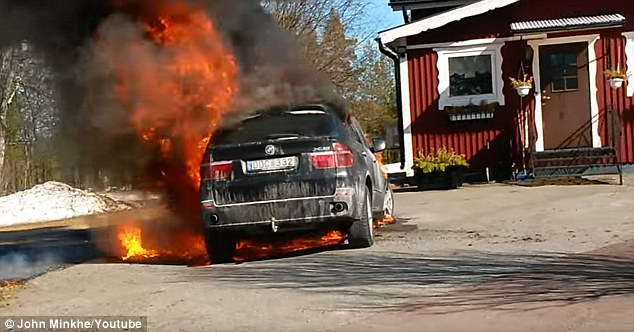 John Minkhe of Sweden said hisBMW X5 burst into flames a few minutes after his wife and children switched off the engine and got out of the car