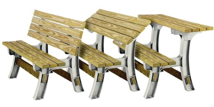 Promising review: 'Assembly was quite easy and took just a couple hours to build two benches. It is really easy to convert from bench to table and not too heavy, so both my wife and I have no trouble sliding them around on our deck. We have loved our table so far and use it almost everyday.' —C. AndersonGet it from Amazon for $57.