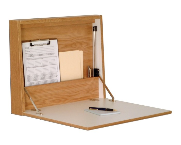 Promising review: 'At intervals, I need additional desk space but my fold-up table often became a 'catch-all' area. I saw this as the perfect solution and it is. There is adequate storage for a few folders (e.g., to-do, waiting for an answer, follow-up. etc.). A few writing implements, a calculator, and a pad complete the storage capacity. I'm satisfied with the product and the ability to close it keeps my work area, and desktop in neat condition.' —nicaGet it from Amazon for $127 (available in oak and mahogany).