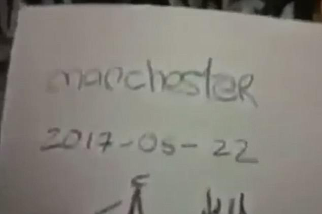 'This is only the beginning,' the masked man says in the chilling but unverified footage in which he holds up a sign reading 'Manchester 2017-05-02'