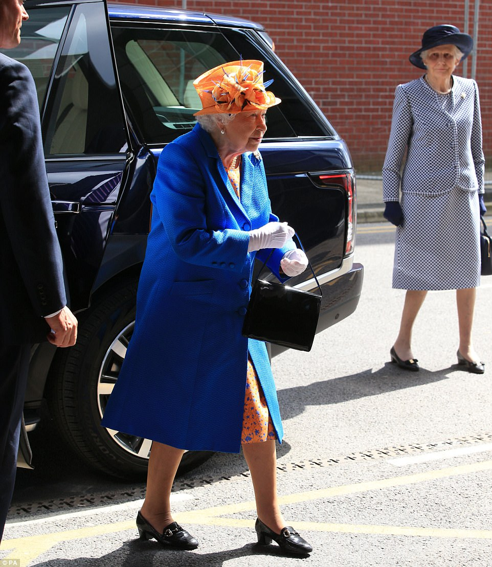 Royal support: The monarch, 91, paid a visit to the hospital to spend time with some of the injured children and their families