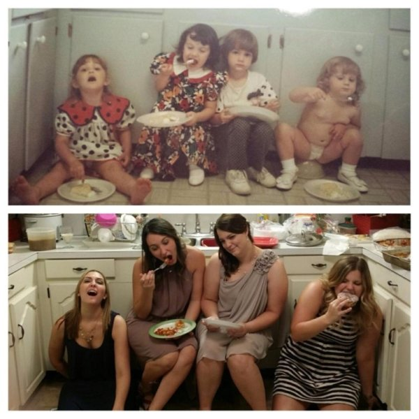 family photos then now same recreated funny 21 Then & now images prove that some people never change (40 Photos)