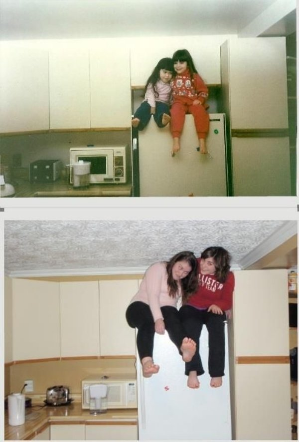 family photos then now same recreated funny 2 Then & now images prove that some people never change (40 Photos)