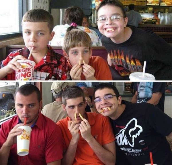family photos then now same recreated funny 7 Then & now images prove that some people never change (40 Photos)