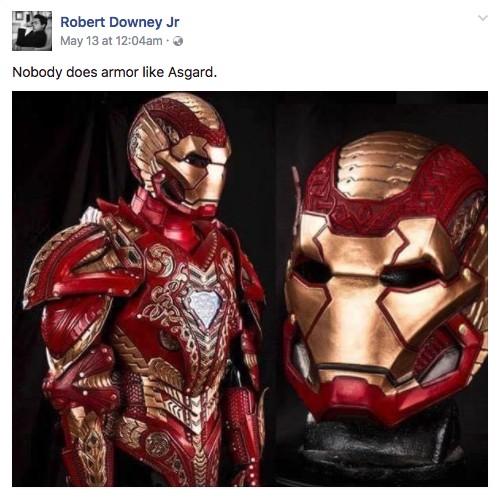 小勞勃道尼分享最新「阿斯嘉鋼鐵人」盔甲,粉絲猜是在暗示要在《雷神索爾3》露臉!
