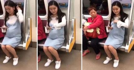 正妹孕婦搭捷運「好心人立刻讓座」,一坐下「手往衣服裡掏」隔壁阿姨傻眼!