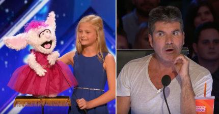 小女生帶著娃娃上台沒人猜出表演是什麼,當娃娃一開口評審不得不按下黃金按鈕!