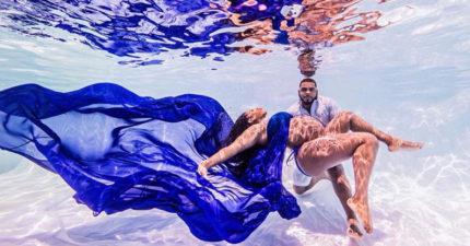 懷孕媽媽挑戰「幸福水中孕照」拍下最珍貴時刻,成品美的像「文藝復興油畫」!