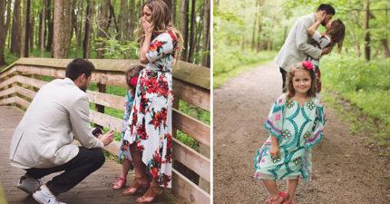 求婚時他轉向女友的女兒問「我可當你的爸爸嗎?」女兒的答案讓她發現「女兒早知道了」!