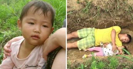 父母沒錢治療2歲重病愛女,提前挖墳陪躺墳「適應死亡」。