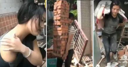 中國野生「仙女超正工人」,除了搬磚頭外還把你的心給搬走!