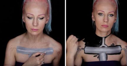 正妹用人體彩繪將自己的身體變成「改造中」的模樣!3:03 「支離破碎」嚇死人!