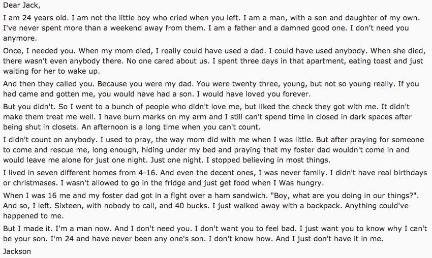 「給在我2歲時拋棄我的爸爸」,男子寫了一封信「現在過得很好」讓爸爸後悔!