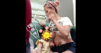 老娘也很餓!正妹媽媽「掀衣露球」霸氣扒飯餵母乳!網友:台灣最美畫面