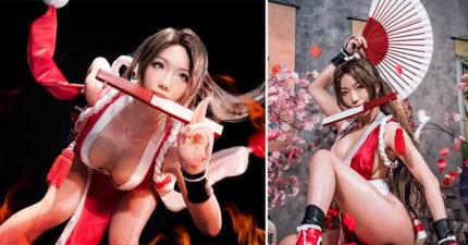 超暴力身材韓國辣妹1:1 讓2D「不知火舞」來到3D世界!「下半身超強」網友:「鼻血不夠噴了...」(13張)