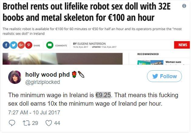 妓院出租「32E豪乳性.愛女機器人」,「她」1小時薪資3500元!科學家嚴重警告後果!