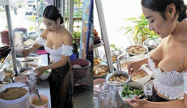 泰國「超胸」麵店老闆娘,讓端來的每碗麵都從大辣起跳!