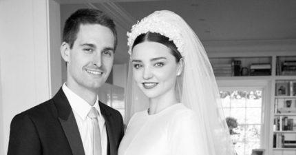 正面超美!跟Snapchat執行長3.6億私人婚禮,米蘭達最夢幻「Dior訂製婚紗照」曝光!