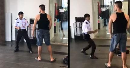 自由搏擊男子想要痛貶「比他矮一頭的小警衛」,用最慘痛方式學會「人不可貌相」。