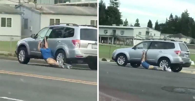 超憤怒老公「好萊塢式」緊抓剛剛X了他老婆老王的車門,屁股被馬路磨爛「但心更痛」! (超痛影片)