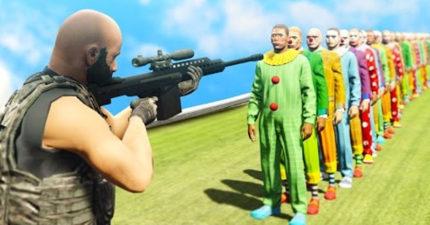 狙擊槍一發可殺死100個小丑嗎?《俠盜獵車手5》中把100個小丑排成一排,可以一發全爆頭嗎?