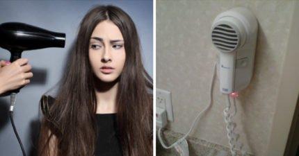 飯店浴室的「固定式吹風機」非常方便但千萬不要碰!一不小心碰到就GG了!