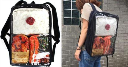 光看就餓!日本爆紅「便當背包」白飯+配菜超豪華,「把便當拿出來後」時尚感爆表!