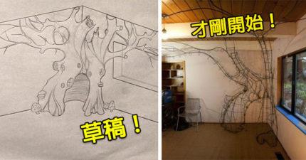 超神爸爸為女兒DIY「精靈樹洞房子」,歷史上最棒老爸就是他!(40張)
