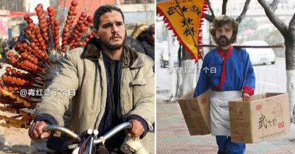 23位《權力遊戲》的知名人物到中國當「路邊小販」的樣子!#23 夜王模樣也太矬!