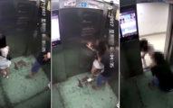 正妹在電梯被色狼「襲奶舔脖子」試著等門開逃跑,還被拖回電梯繼續壓著舔...