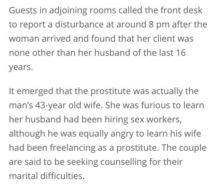 男子偷「開房叫援交妹」,一開門發現是自己結婚16年的太太...