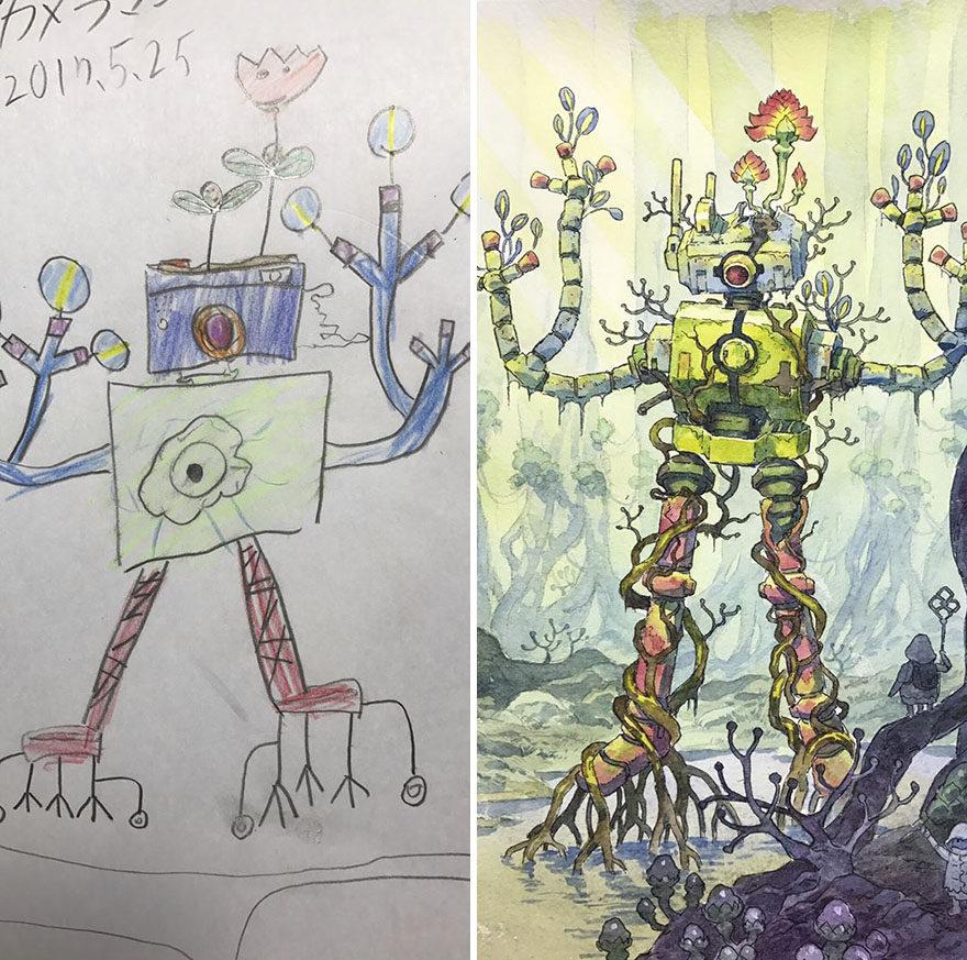 【PART 4】老爸畫家把兒子的塗鴉「升級」成超猛動漫!