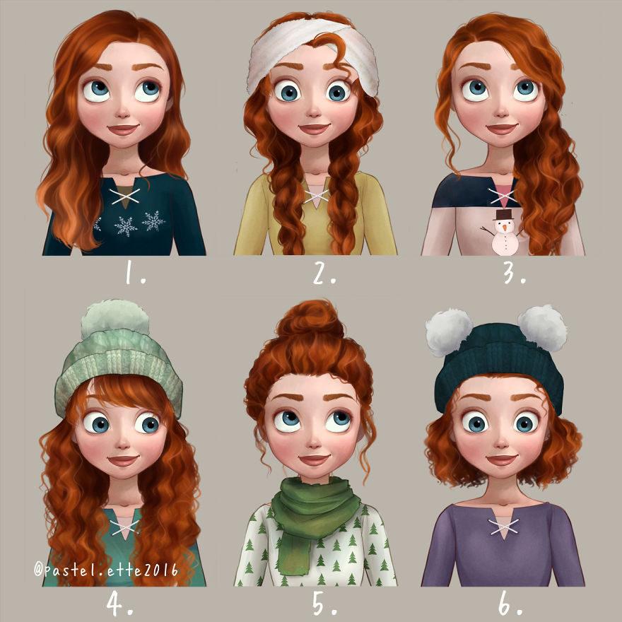 她幫迪士尼公主「換上新髮型」,讓大家看到她們更可愛的一面!