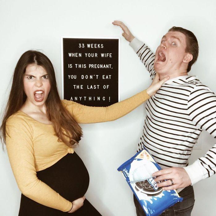 辣媽把懷孕每個禮拜的爆笑「懷孕心底話」拍出來,證明爸爸該乖乖閉嘴!(15張)