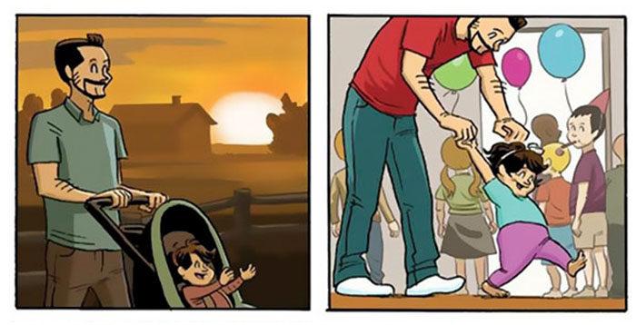 獲獎漫畫家創作超感人「父女成長故事」,超大洋蔥「這就是你父母的最大遺憾」(9張)