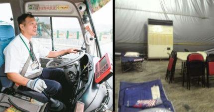 世大運遊覽車司機休息室太簡陋,網友心疼PO文引來同行司機諷「有得住就好心疼什麼」!