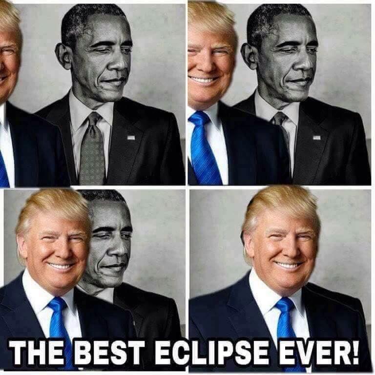 川普在推特上分享「最棒的日全蝕」圖片,讓大家的拳頭都差點硬爆!網友:「還好只是一下子...」