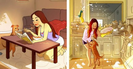 別讓女友看到!17張可能會讓分手率飆高的「單身比較好」女生獨居天堂插畫。